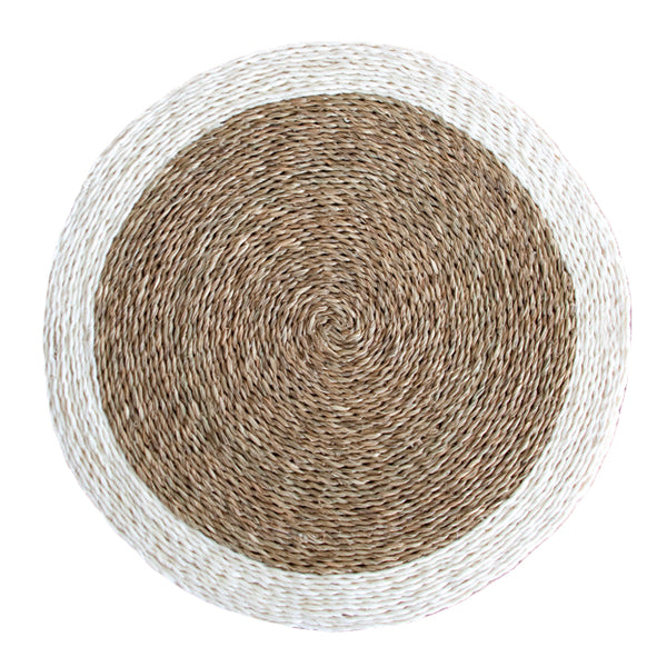 Gone Rural Swaziland hand woven circle placemat in natural tan with cream trim