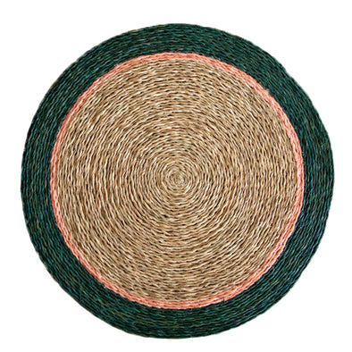 Gone Rural Swaziland hand woven circle placemat in natural tan with olive green and blush pink trim