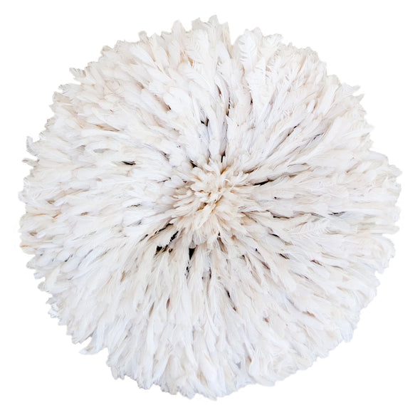 Authentic African Juju hat in creamy white natural feathers