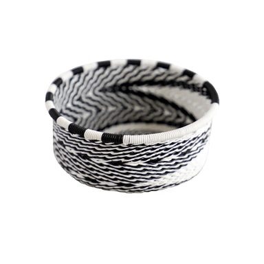 Hand Woven Telephone Wire Coin Basket - Black and White, 3