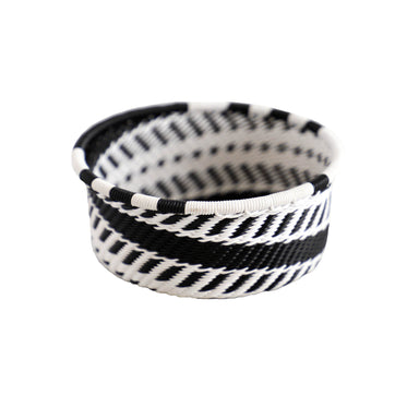 Hand Woven Telephone Wire Coin Basket - Black and White, 4