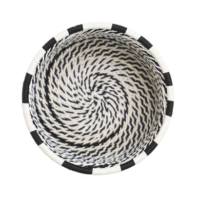 Hand Woven Telephone Wire Coin Basket - Black and White, 1