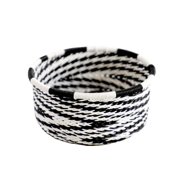 Hand Woven Telephone Wire Coin Basket - Black and White, 2
