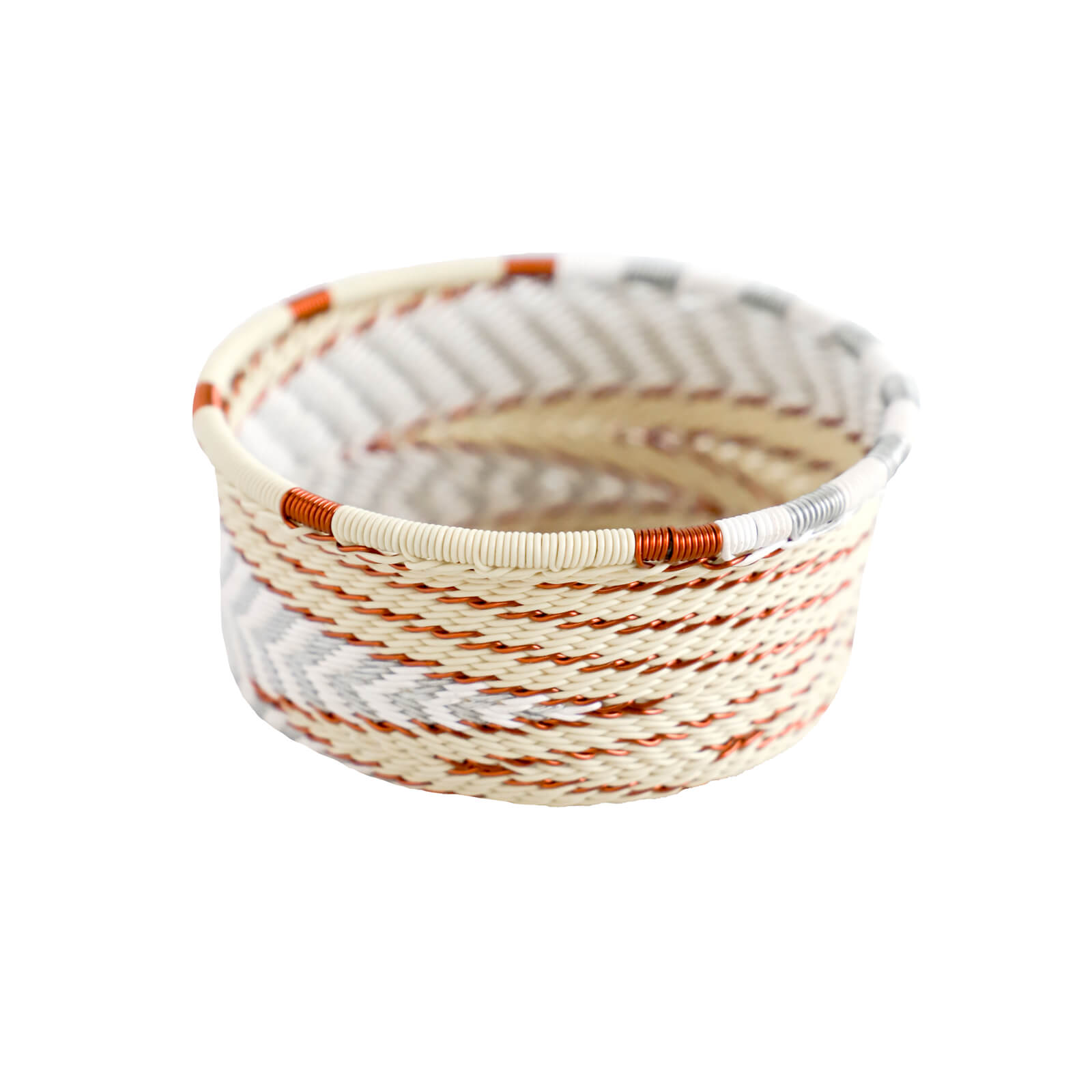 Hand Woven Telephone Wire Coin Basket - Cream, 2