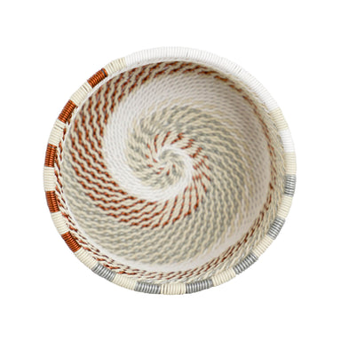 Hand Woven Telephone Wire Coin Basket - Cream, 3