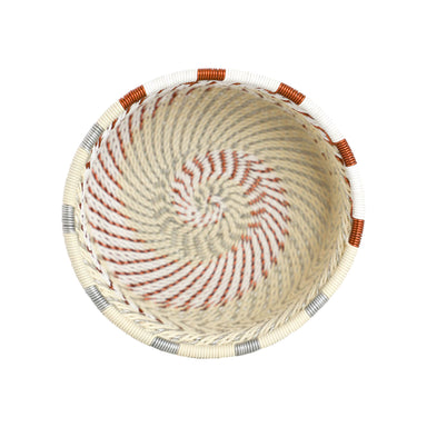 Hand Woven Telephone Wire Coin Basket - Cream, 1