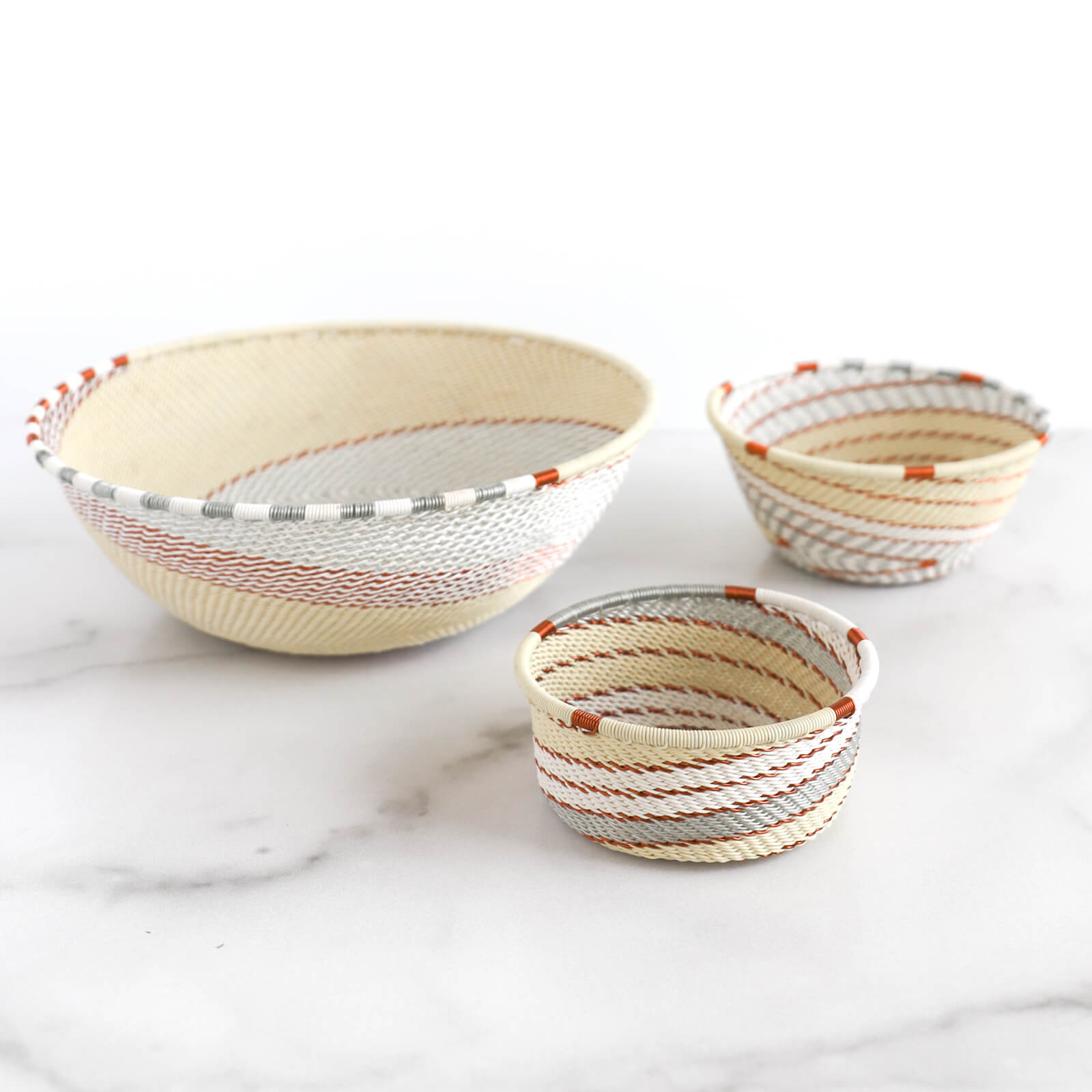 Hand Woven Telephone Wire Coin Basket - Cream, 4