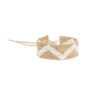 Warrior Bracelet - Metallic Gold and White Zig Zag