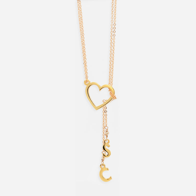 Collar Heart Waterfall con Iniciales