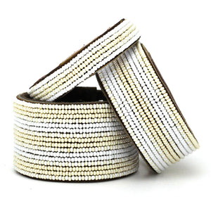 Pearl & White Stripes Cuff
