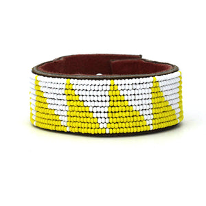 Medium Yellow Tri Leather Cuff