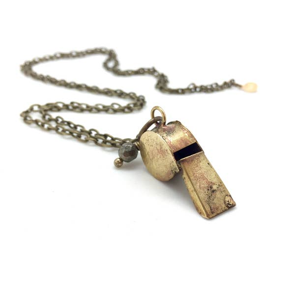Vintage Brass Toy Whistle Necklace (CORE - OLIVIA)
