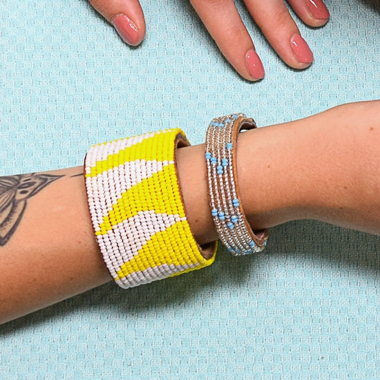 Small Summer Chevron Leather Cuff
