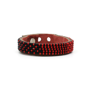 Small Red and Black Ombre Leather Cuff