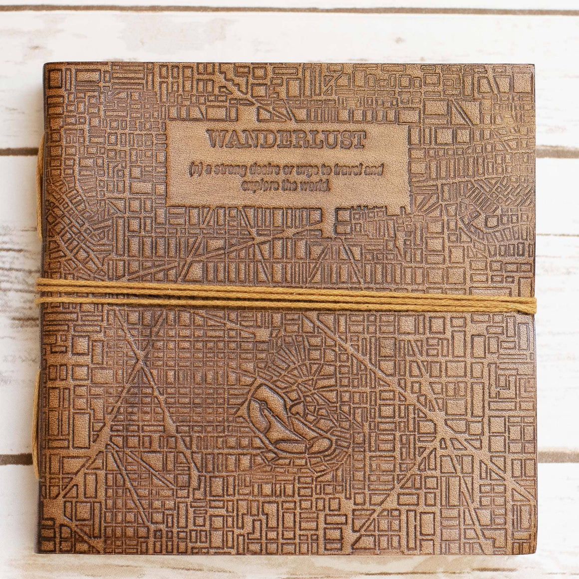 Wanderlust Square Handmade Leather Journal