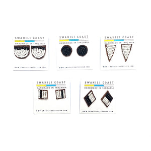 Swahili Studs - Black and White