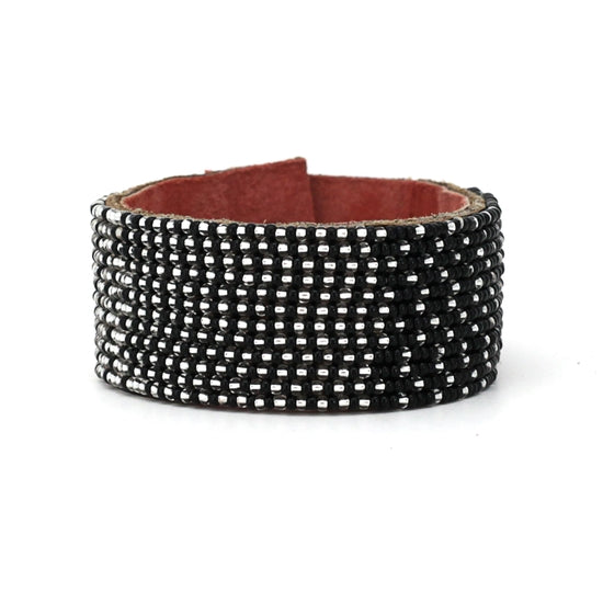 Medium Black and Silver Ombre Leather Cuff