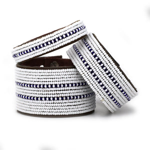 Dark Blue Dashes Cuff