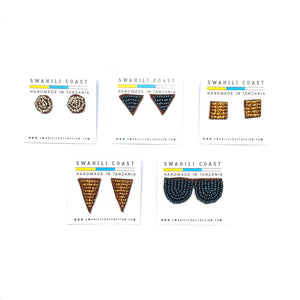 Swahili Beaded Studs - Metallics