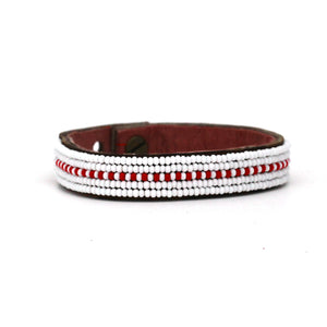 Small Red Dashes Leather Cuff
