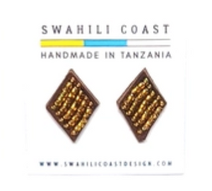 Swahili Beaded Studs - Gold