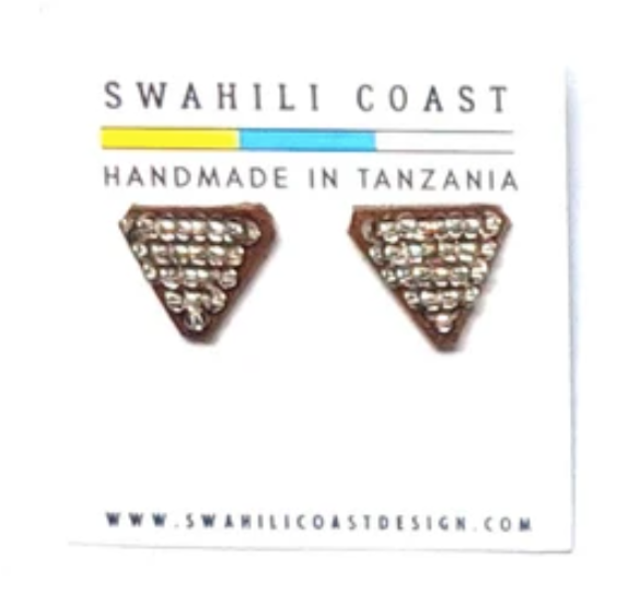 Swahili Beaded Studs - Silver
