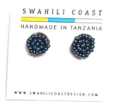 Swahili Beaded Studs - Slate