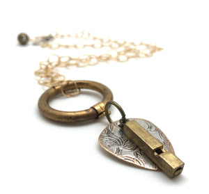 Vintage Brass Whistle Necklace (FESTIVAL - PICKIE)
