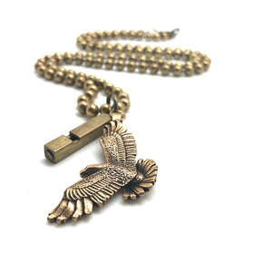 Vintage Brass Eagle Pendant with Train Whistle Necklace