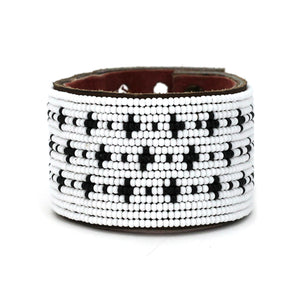 Large Black and White Stars Leather Cuff