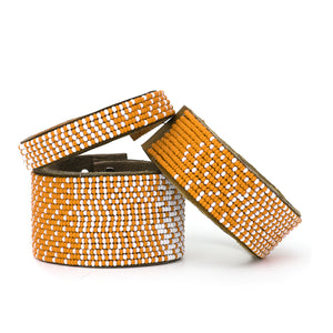 Orange and White Ombre Leather Cuff