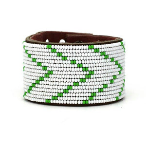 Green & White Chevron Cuff