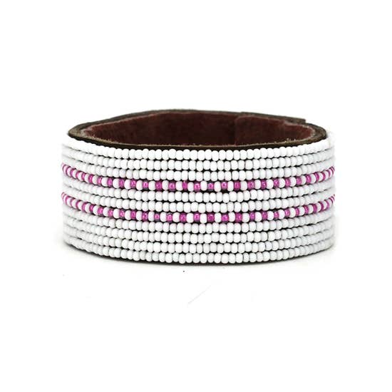 Pink & White Dashes Cuff