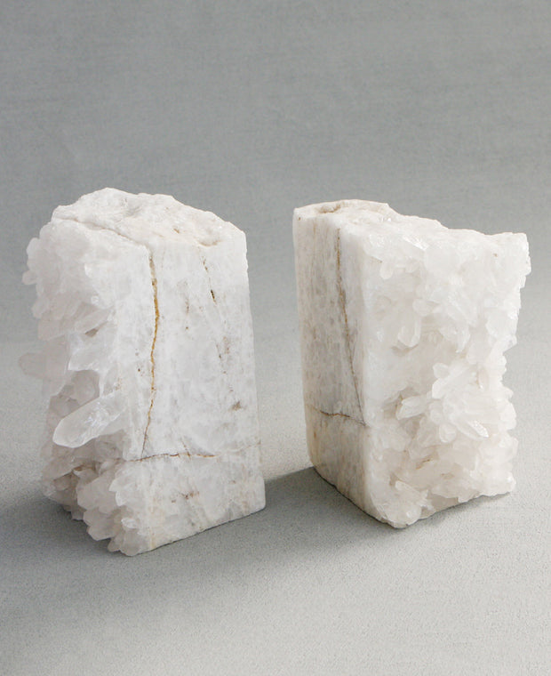 Premium Clear Quartz Crystal Gemstone Bookends, Brazil