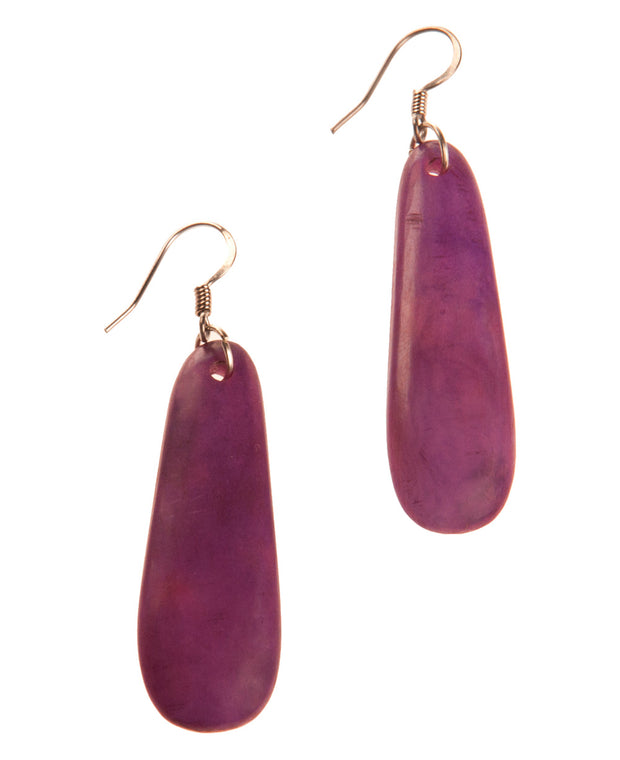 Moon Sliver Tagua Earrings, Berry
