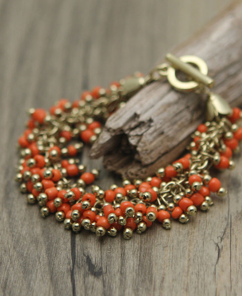 Orange Saffron Beaded Jangle Bracelet, India