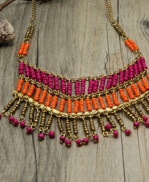 Orange and Fuchsia Bead Curtain Necklace with Rhinstones, India