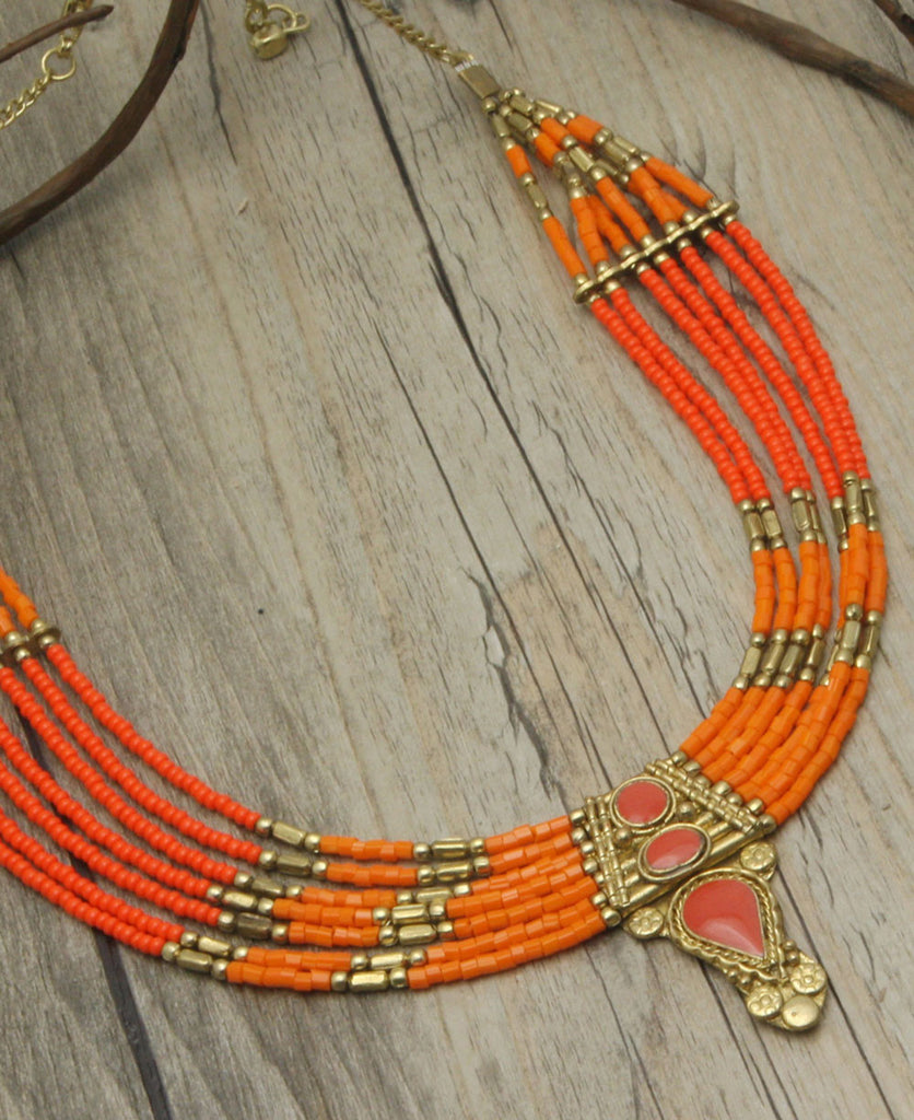 Firebird Beaded Drop Necklace, India