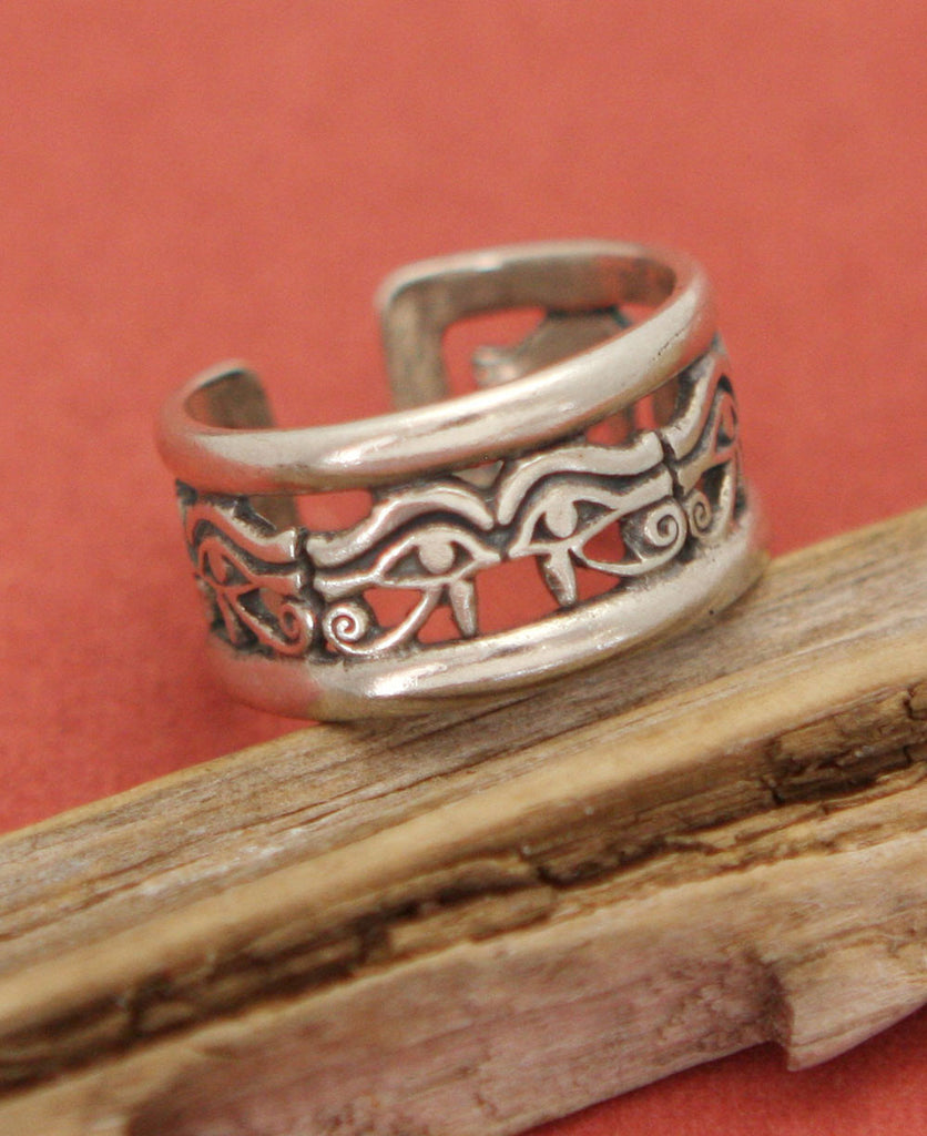 Eye of Horus Ornate Sterling Silver Egyptian Ring