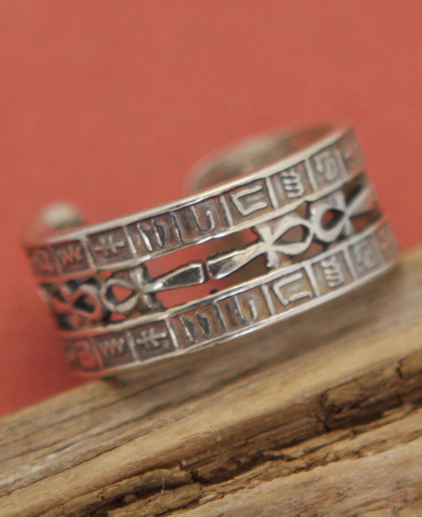Sterling Silver Detailed Egyptian Ankh Ring, One Size