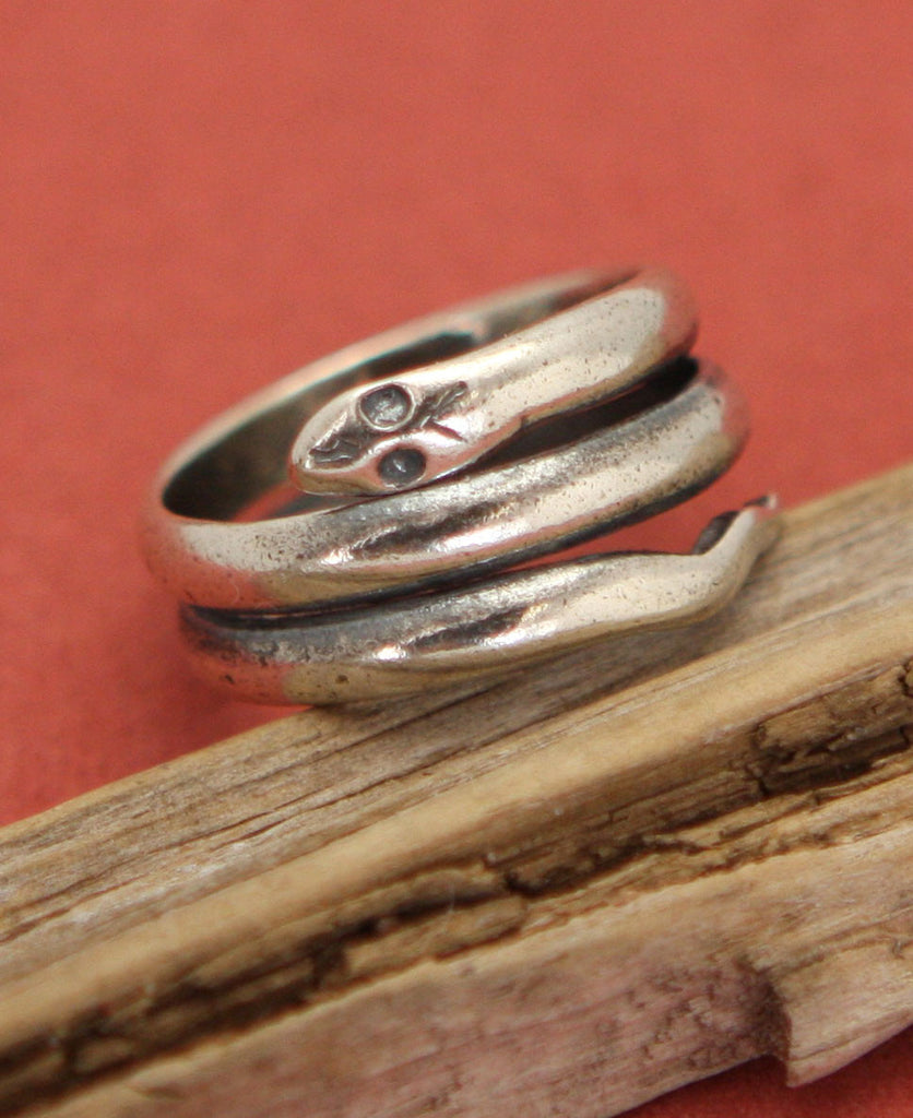 Egyptian Cobra Snake Sterling Silver Wrap Ring
