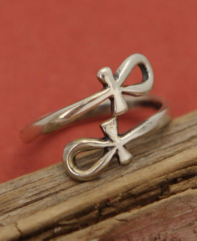 Egyptian Ankh Sterling Silver Wrap Ring