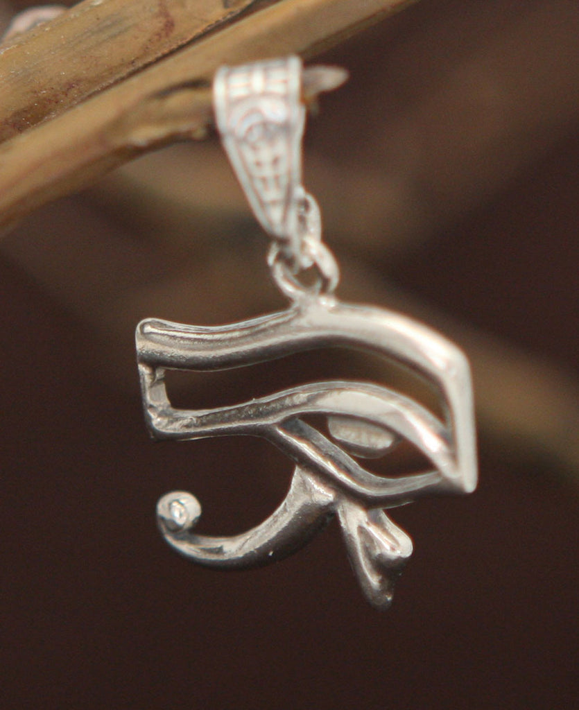 Sterling Silver Eye of Horus Pendant, Multiple Sizes
