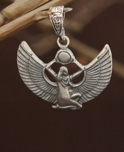 Isis Egyptian Goddess Pendant, Sterling Silver