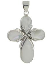 Mother of Pearl Cross Pendant with Sterling Silver