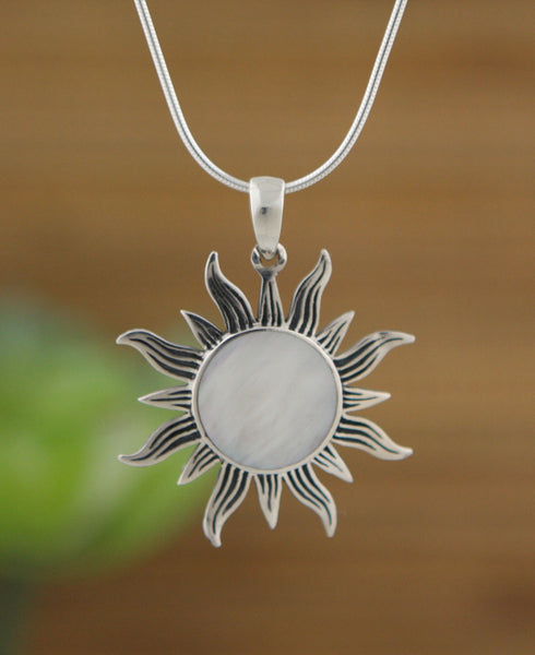 Mother of Pearl Sterling Silver Shimmering Sun Pendant