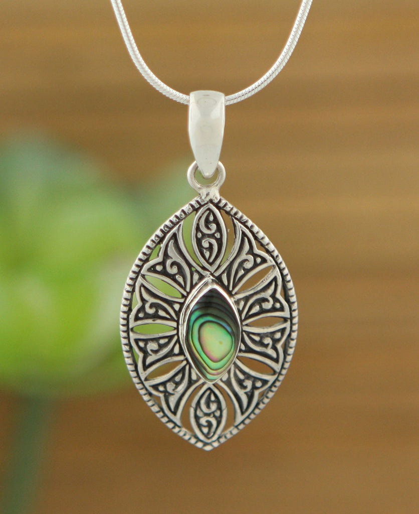 Sterling Silver Indonesian Battle Shield Pendant, Abalone Shell