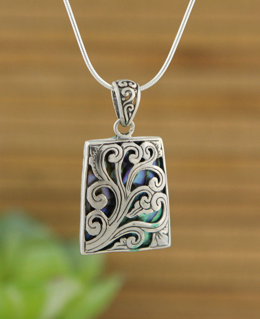 Garden Trellis Sterling Pendant With Abalone Shell