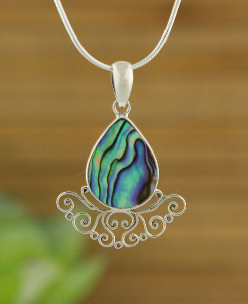 Sterling Silver Raindrop Pendant with Abalone Shell