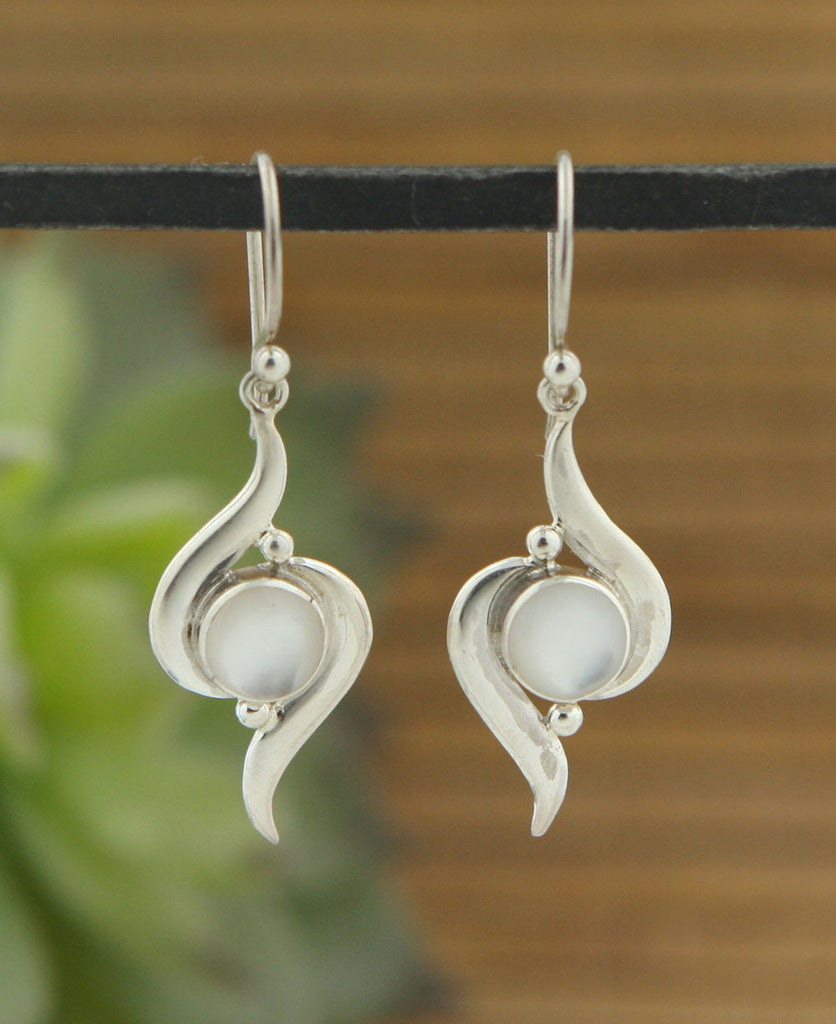 Mystical Orb Mother of Pearl Earrings, Sterling Silver